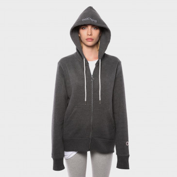 TERRY ZIP UP HOOD BLACK MARL