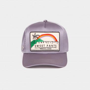 SATIN PATCH CAP GREY RAINBOW