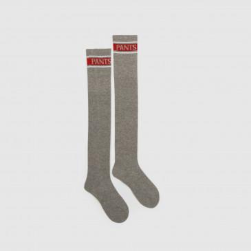 LONG SOCKS GREY MARL/RED
