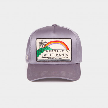 SATIN PATCH CAP GREY RAINBOW