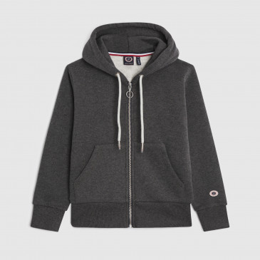 KID ZIP UP HOOD BLACK MARL