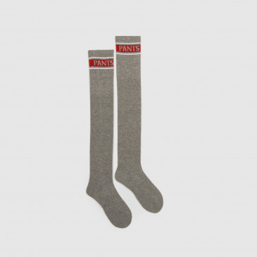 LONG SOCKS GREY MARL/RED