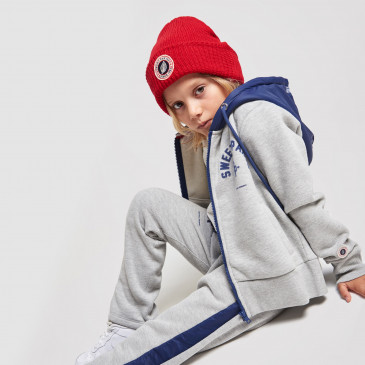 KID TWICE ZIP UP  GREY MARL/NAVY