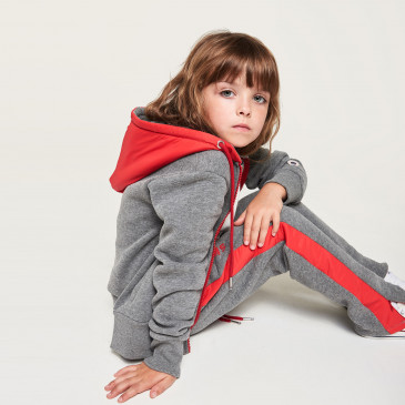 KID TWICE ZIP UP  DARK MARL/RED