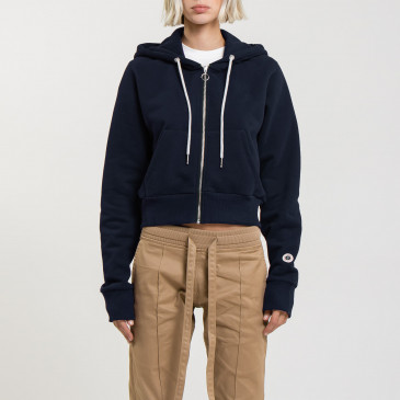TERRY CROP ZIP UP NAVY