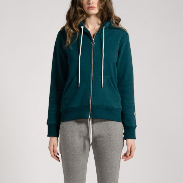 ZIP UP HOOD DARK GREEN