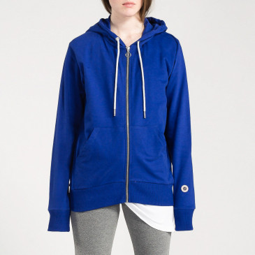 TERRY ZIP UP HOOD COBALT