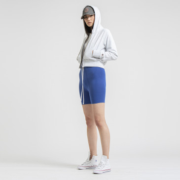 TERRY CROP ZIP UP ICE MARL
