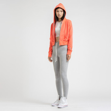 TERRY CROP ZIP UP LASER CORAIL